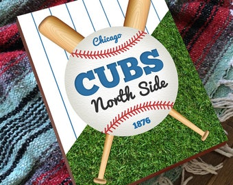 North Side Chicago - Chicago Cubs Sign - Chicago Cubs Wall Art - Chicago Cubs Wall Decor - Chicago Cubs Wooden Sign -  Chicago Cubs Artwork