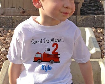 FLASH SALE Sound the Alarm Fire Truck birthday Shirt Personalized with name and age - firetruck shirt - firetruck Birthday Shirt - fireman s