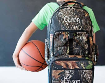 In Stock Ready to Ship Personalized Monogrammed Woods Camo Backpack and attachable Lunch Bag Tote Box -- Free Monogramming-- FAST TURNAROUND