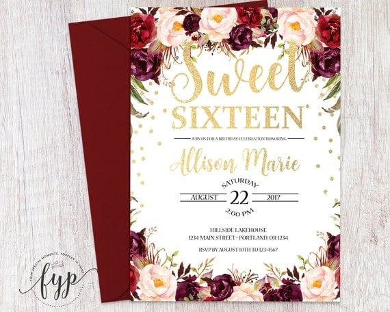 Fall birthday invitation 16th birthday invite girls sweet il570xn filmwisefo Image collections