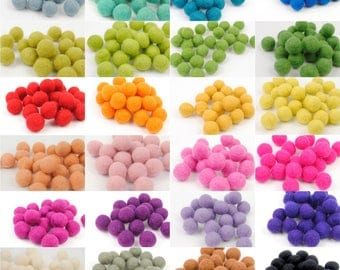 20 Felt Balls  - CHOOSE THE COLOURS - 2cm Wool Felt Balls - Pack of 20 - 100% Wool Felt - Felt Pom Poms