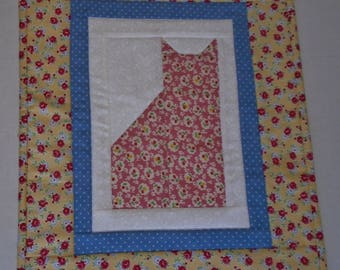 Kitty Quilted Table Topper with Flowers, Quilted Wall Hanging, Pastel Quilted Table Runner, Kitty Cat Quilt, Nursery Decor, Kitty Quilt