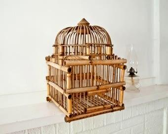 Vintage Bamboo Bird Cage / Garden Decor
