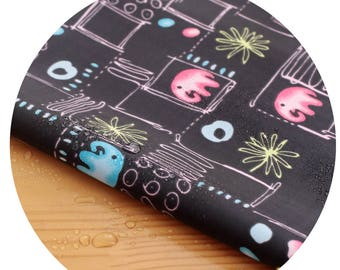 Wide Dual Waterproof Polyester Fabric By the yard  'Elephant- Black ' (width 59 inches) 90342