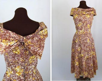 Vintage 50's Dress Floral Print Brown Yellow White Taffeta Party Wedding Size S / Small