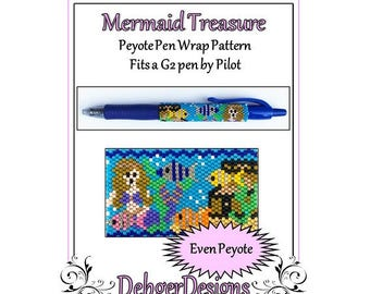 Bead Pattern Peyote(Pen Wrap/Cover)-Mermaid Treasure