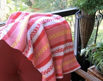 Baby Blanket Salmon Pink Yellow Knit,