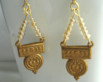 Earrings with vintage brass stamping and seed beads, neutral color,