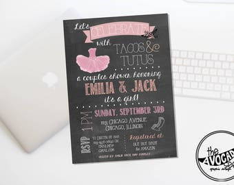 Pink Tacos and Tutus Invitation for any Event - DIY printing or Professional Prints via Convo