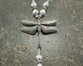 Silver Dragonfly Necklace One of a Kind Dragonfly Jewelry Unique Knotted Necklace Neutral Bohemian Jewelry