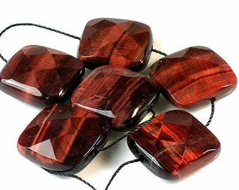 Listed @ 10% Off Sale Was 9.99---6 Pieces16mm Gleaming~AAA Red TIGER EYE Faceted Square Beads - #6535