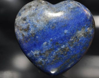 "27x27x14mm ""Premium Quality""~Natural Afghanistan Indigo Blue LAPIS LAZULI w/PYRITE Puff Heart -Reiki Energized -Palm/Pocket Stone - L1128"