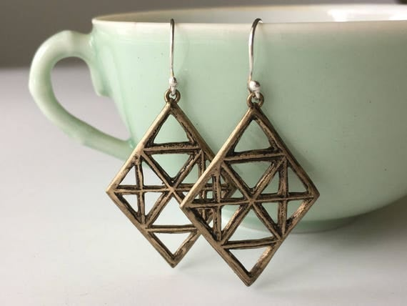 Diamond Shaped Earrings | Bronze Earrings | Geometric Jewelry