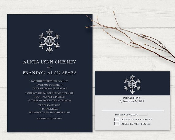 Winter Wedding Invitation Set Navy Blue Silver Christmas Wedding Printable Wedding  Invitation Suite DIY Wedding Invitation Kit W RSVP Card