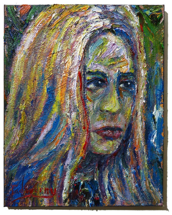 Oil Paint on Stretched Canvas of 20 by 16 by 3/4 in. / Original oil painting impressionist outsider female portrait vintage art realism