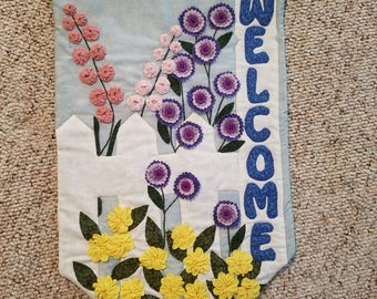 Welcome to my Garden Quilted & 3D wallhanging
