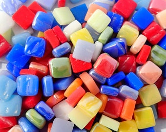 Bright Colors Mix Mini Glass Tiles - 8mm Square - 50 grams Opaque Glass Mix of Iridescent and Matte Tiles in Assorted Colors