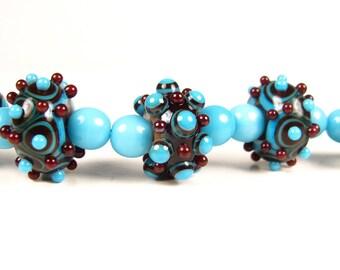 Handmade Glass Lampwork Beads // Turquoise Lampwork Beads // Blue and Brown Lampwork // Brown Lampwork // Turquoise and Brown Glass Beads