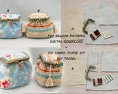 Fabric purse sewing kit Diy Kiss lock purse kit  coin purse frame purse PDF Sewing Pattern & Tutorial with Photos