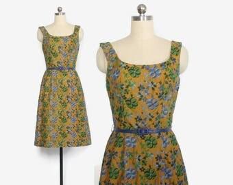 Vintage 50s Embroidered DRESS / 1950s Floral Cotton Carolyn Schnurer Dress