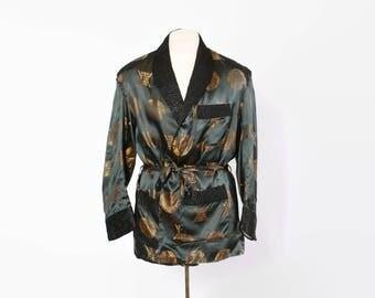 Vintage 60s Smoking Jacket / 1960s Men's Dark Green & Black Silk Brocade Belted Robe Dressing Gown