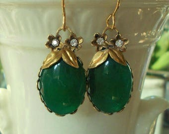 RESERVED Vintage assemblage earrings green chrysoprase glass brass flowers rhinestones one-of-a-kind Triolette jewelry
