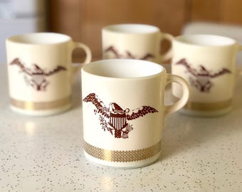 Set of Four Vintage Federal Eagle Pyrex Mugs