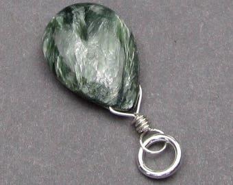 Large Russian Seraphinite Pendant, Seraphinite Charm, Sterling Silver Wire Wrapped Pendant, Seraphinite Necklace Pendant, Stone 9