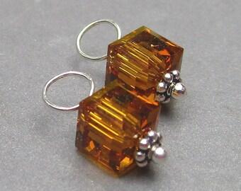 Birthstone Charm, Topaz Swarovski Crystal Charm, Swarovski Topaz 6mm Cube,  November Birthstone Charm,  Bracelet Charms, Necklace Charms