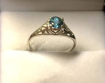 London Blue Topaz Sterling Silver Filigree Ring handmade amethyst yellow citrine white opal fine jewelry size 3 4 5 6 7 8 9 10 11