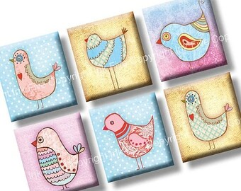 Bird Party scrabble tile images 0.75x0.83 inch. Two 4x6'' Collage Sheets for scrabble pendants. Vintage style digital download