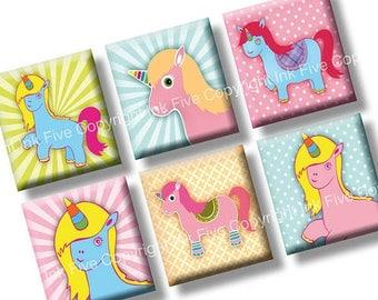 Unicorns scrabble tile images 0.75x0.83 inch squares. Two 4x6'' little pony Collage Sheets scrabble pendants. Digital download printables