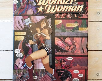 Wonder Woman Comic Collage Canvas Art--8x10 inches