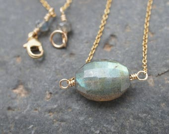 New Moon in Gold Necklace - Labradorite and 14k Gold Fill - Flashy Faceted AAA Labradorite Oval Solitaire