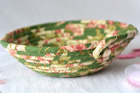 Easter Decoration, Handmade Candy Dish Bowl, Shabby Chic Ring Dish Basket, English Garden Floral Desk Accessory, Easter Basket