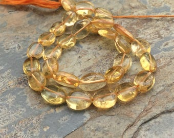 Citrine Ovals, Oval Gemstone Beads, Citrine Beads, 13 inch stand, 10mm approx