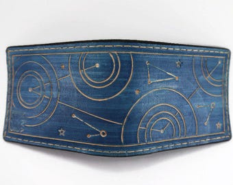 Doctor Who / Gallyifreyan Star Map - Hand Tooled Leather Wallet