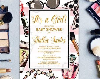 It's a Girl Baby Shower Invitation with MakeUp Tools Cosmetics, Fashion Show Party, Makeover Girly Printable Printable Invitation