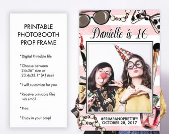 Primp and Prettify Girly Birthday Party Photo Booth Frame Props, Sweet Sixteen Quinceanera Girl Birthday Party Picture Prop Frame