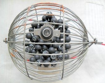 Vintage Bingo Wire Cage and Wood Balls
