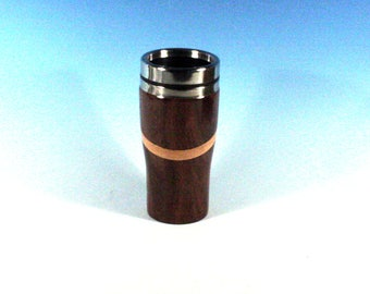 Katalox or Mexican Royal Ebony Travel Mug with Hickory Highlights and a Stainless Steel Insert and Sliding Sipper Top