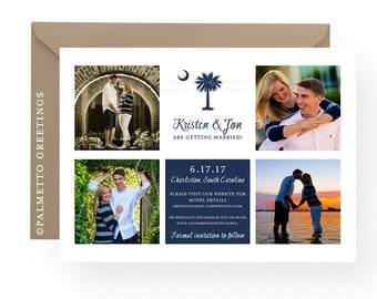 "South Carolina Wedding with Palmetto Moon Save the Date Photo Card, Announcement, Wedding, Engagement - PRINTED -  Set of 50 (5"" x 7"")"