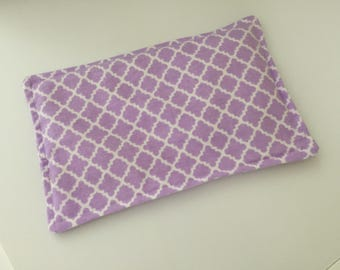 SALE, Rice Heating Pad / Ice Pack, 5 X 8 Purple Scroll