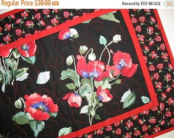 Sale Christmas in July Poppy Table Runner, floral, table runner quilted, handmade, red. black, green, quilted table runner