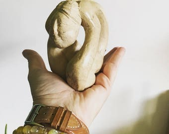 Small Carved Stone Woman Statue