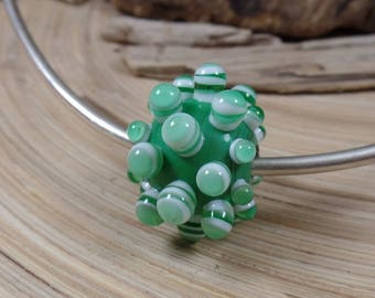 BIG Big Hole Bead with Bumps Green, appx 19x16mm, 5mm hole, lampwork glass bead