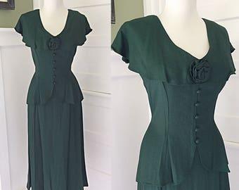 VINTAGE 1940s Style 80s 90s Jessica McClintock WW2 Hepburnish Wiggle Party Peplum Dress