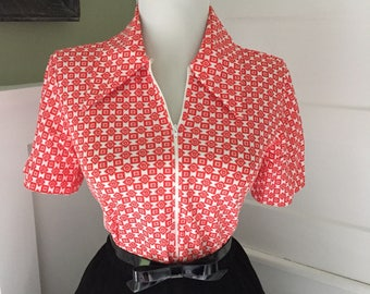 Vintage 1960s Rockabilly ATOMIC Print  Short Sleeve Blouse Bodysuit