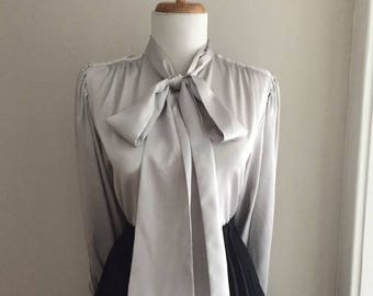 Vintage 60s Blouse w Bow + Mad Men + Sexy Secretary Blouse +1950s 1960s Satiny Gray Button Down Long Sleeve Blouse Top w Ascot Tie Neck