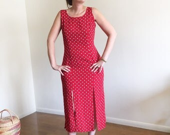 Vintage Laundry by Shelli Segal Red Dot Dress / Dot Dress / Front Slits / Red and White / 90's Vintage Small